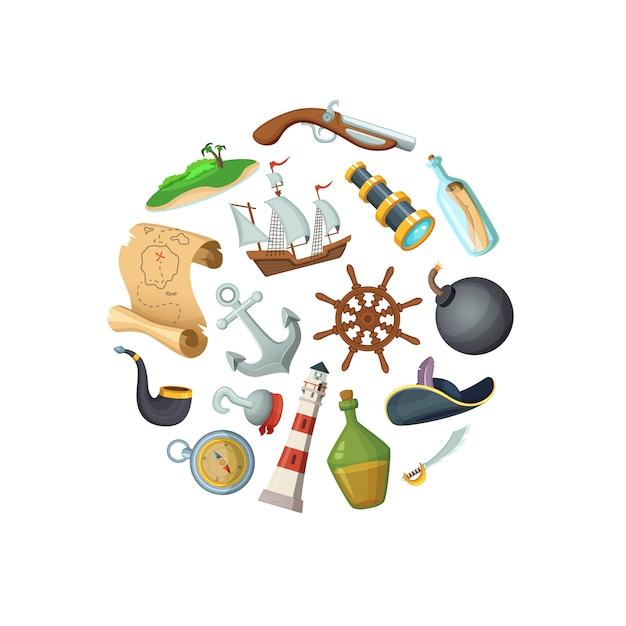Cartoon zee piraten in cirkel vorm illustratie Premium Vector