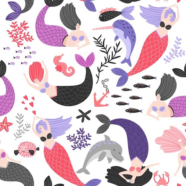 Cartoon zeemeerminnen en zeedieren patroon Premium Vector
