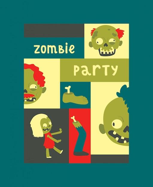 Cartoon zombie patroon halloween enge monster karakter griezelige jongen meisje illustratie achtergrond Premium Vector