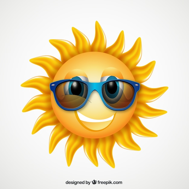 Cartoon zon met zonnebril Gratis Vector