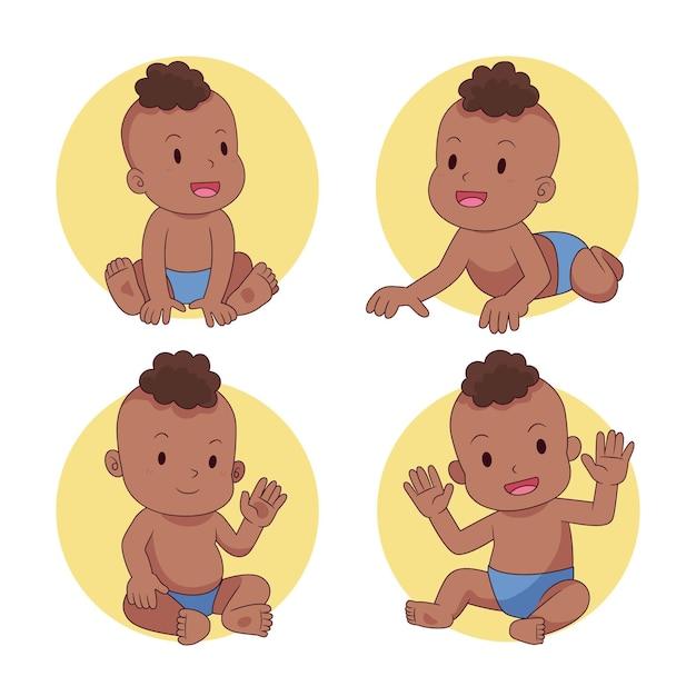 Cartoon zwarte baby collectie Gratis Vector