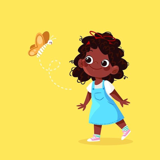 Cartoon zwarte meisje illustratie met vlinder Gratis Vector