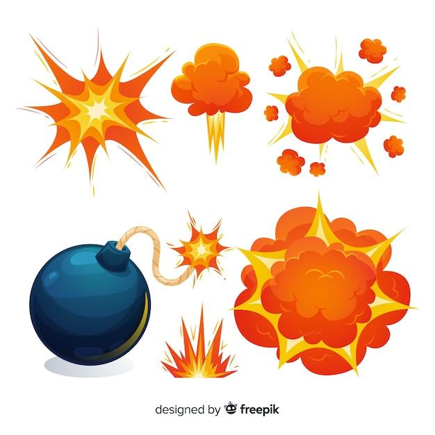 Cartoonbom en explosie-effect collectie Gratis Vector