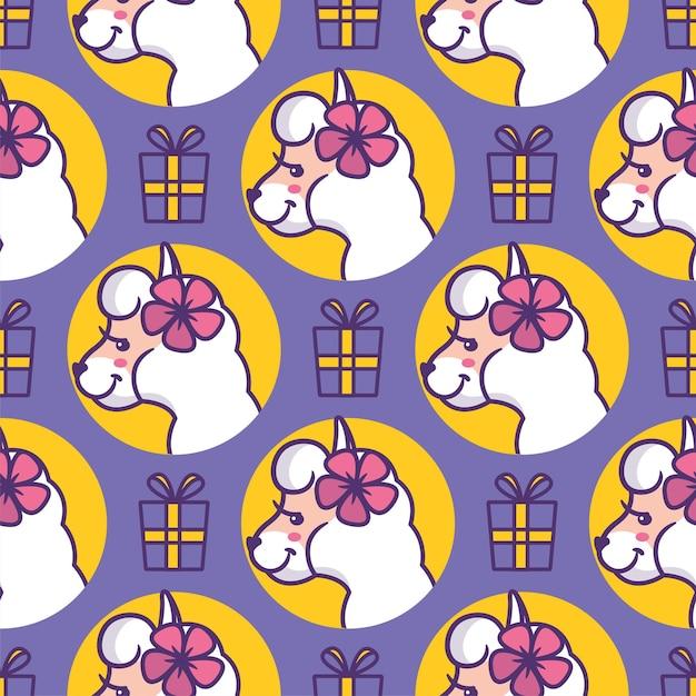 Cartooneske hoofdlama's met cadeautjes en bloemen. Premium Vector