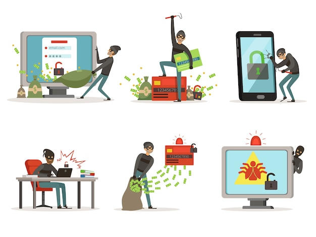 Cartoonillustraties van internet hackers. verschillende gebruikersaccounts of bankbeschermingssystemen breken Premium Vector