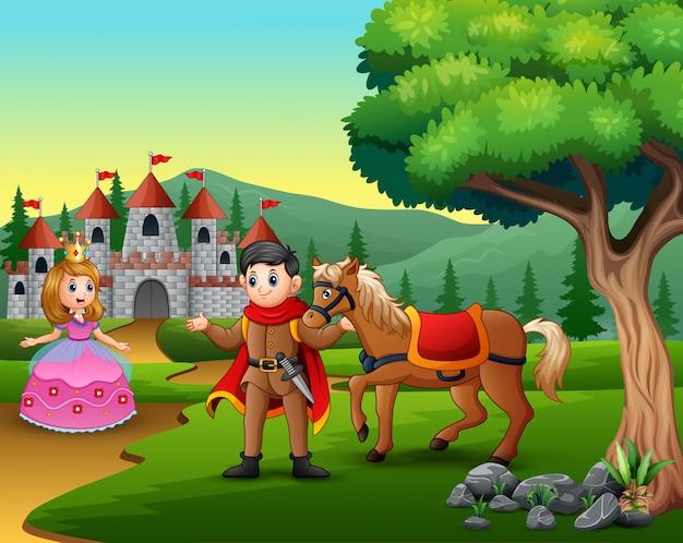 Cartoonprins en prinses op weg naar het kasteel Premium Vector