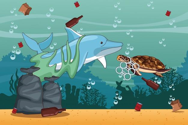 Cartoons voor het schoonmaken van zee Premium Vector