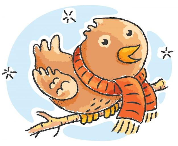 Cartoonvogel die sjaal op een de winterdag draagt Premium Vector