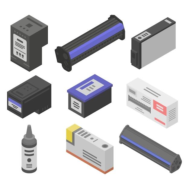 Cartridge iconen set, isometrische stijl Premium Vector