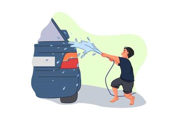 Carwash service, zakgeld verdienen, ouder helper, kinderarbeid concept Premium Vector