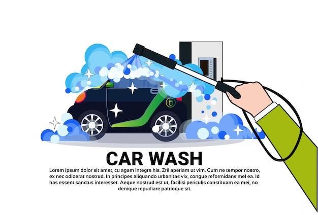 Carwashenservice banner met reinigingsvoertuig Premium Vector