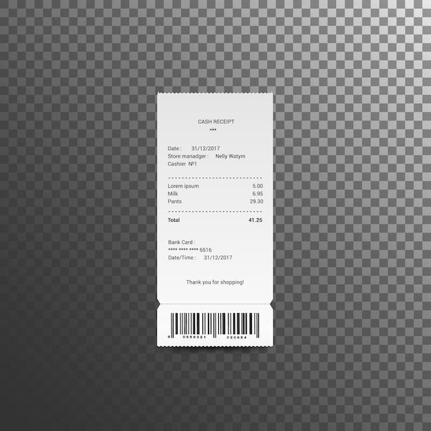Cash ontvangsten illustratie. papieren cheque en financiële cheque geïsoleerd. vector Premium Vector