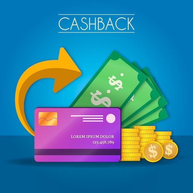 Cashback-concept met bankbiljetten en creditcard Gratis Vector