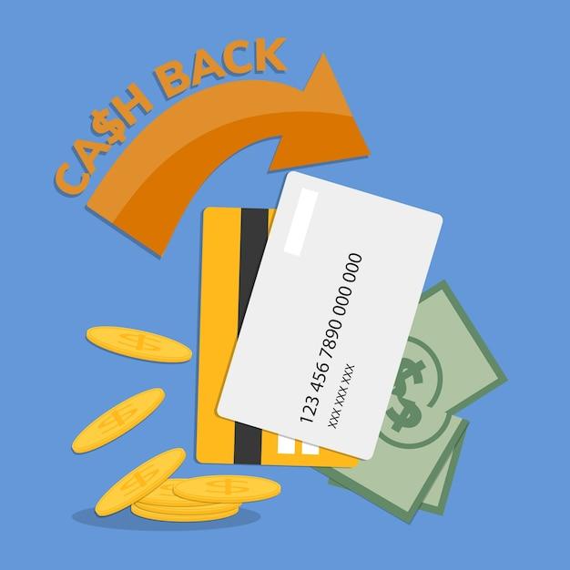 Cashback-concept met creditcard Gratis Vector
