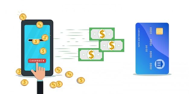 Cashback-creditcard en mobiele app voor overboekingen. platte smartphone met gouden munten op het scherm. Premium Vector