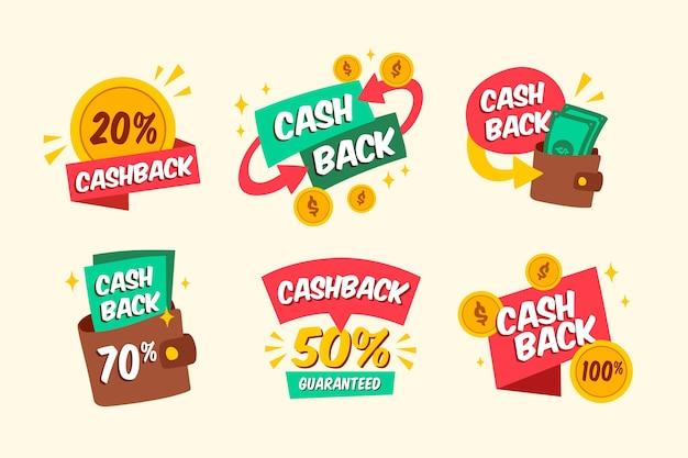 Cashback-etikettenpakket Gratis Vector
