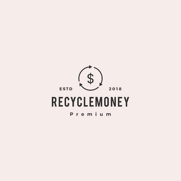 Cashflow recycleer vector het pictogramillustratie van het geld Premium Vector