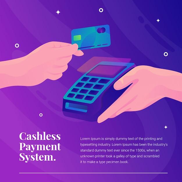 Cashless betaalsysteem creditcard met machine Premium Vector