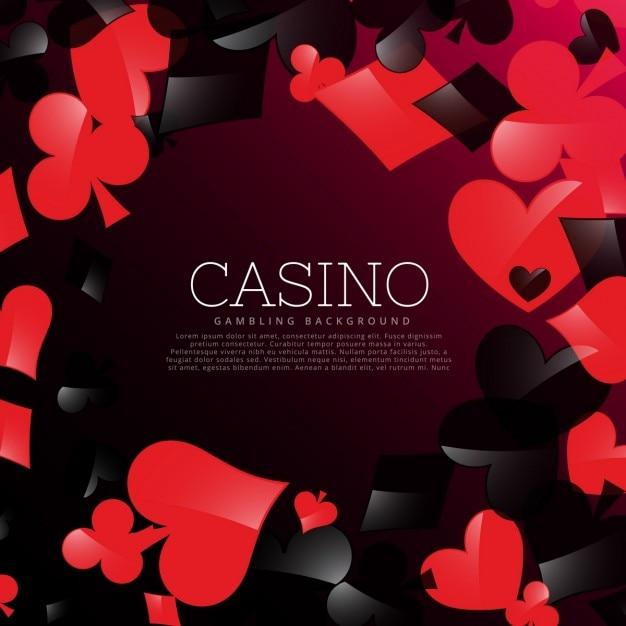 Casino achtergrond met speelkaarten symbolen Gratis Vector