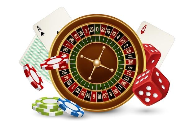 Casino concept. casino roulette, chips, dobbelstenen en kaarten geïsoleerd op een witte achtergrond. illustraton casino gokken, roulettespel Premium Vector