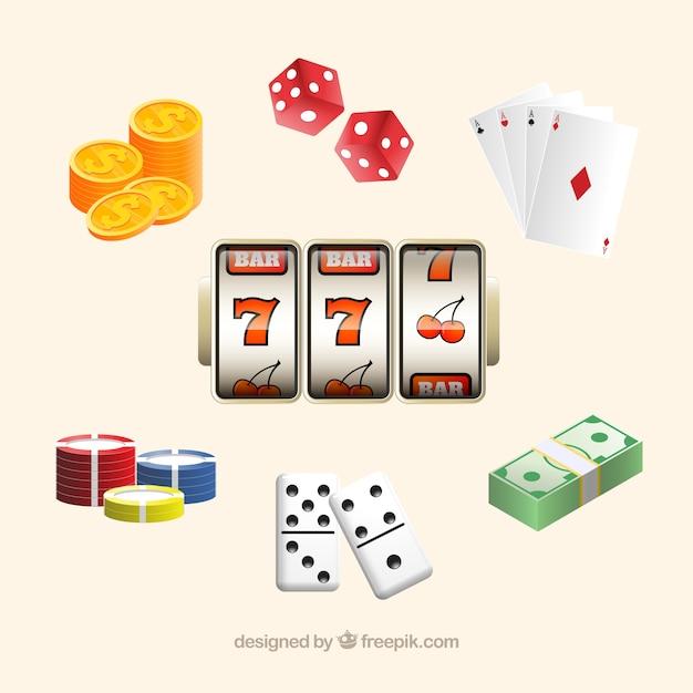 Casino elementen collectie Gratis Vector