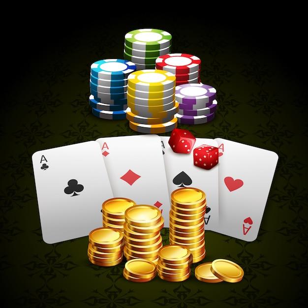 Casino en gokken achtergrond Gratis Vector