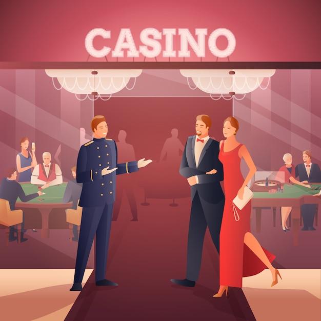 Casino en mensen ilustration Gratis Vector
