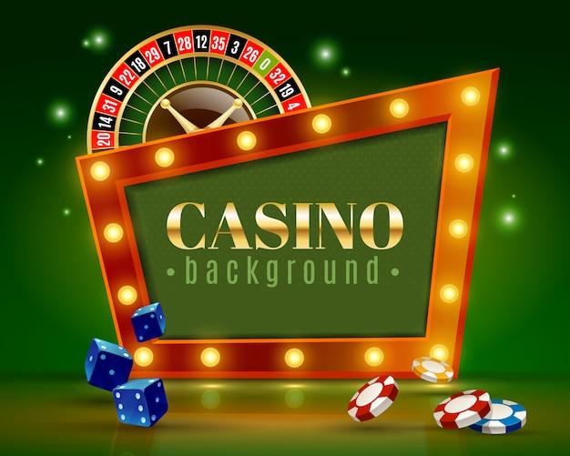 Casino feestelijke lichten groene achtergrond poster Gratis Vector