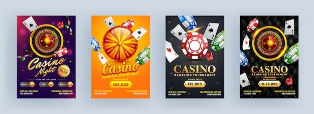 Casino gokken toernooien en casino nacht sjabloon of flyer ontwerpen op verschillende abstracte achtergrond. Premium Vector