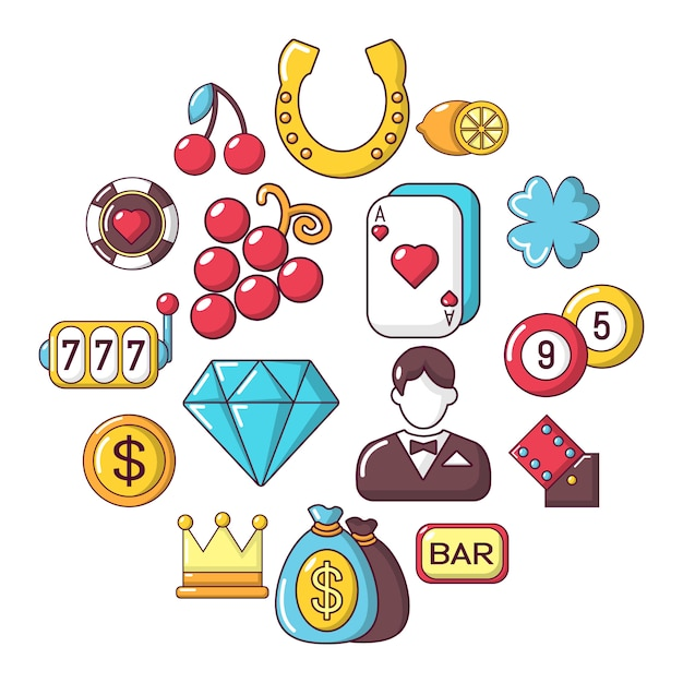 Casino icon set, cartoon stijl Premium Vector