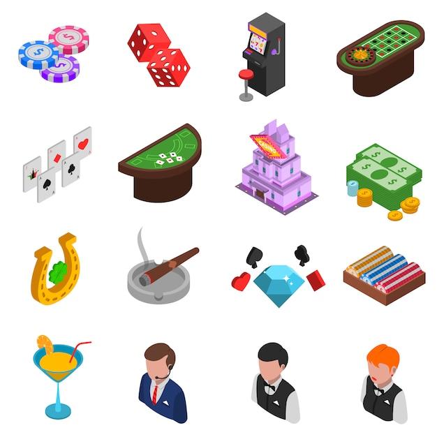 Casino isometrische icons set Gratis Vector