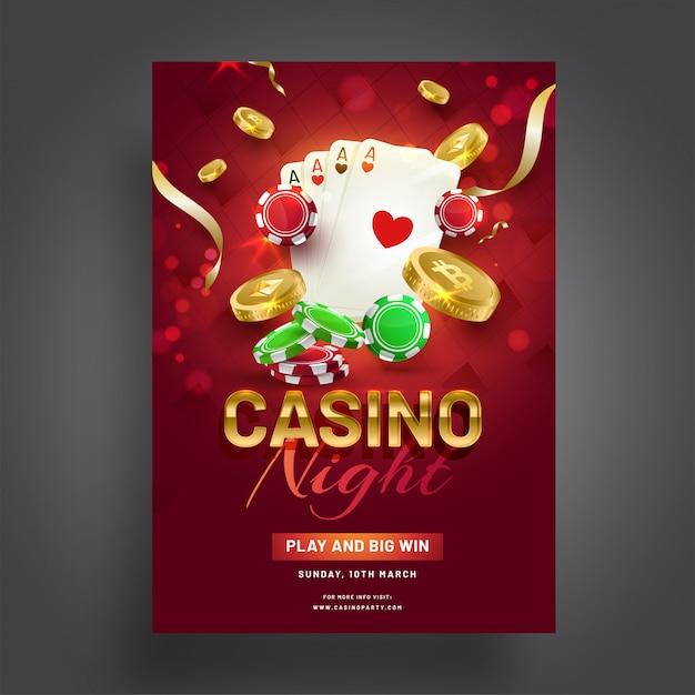 Casino nacht viering sjabloonontwerp met casino elementen op Premium Vector