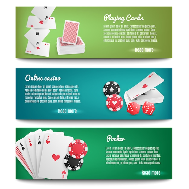 Casino online realistische banners Gratis Vector