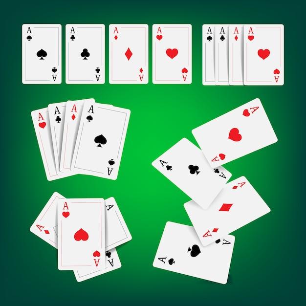 Casino pokerkaarten Premium Vector