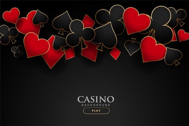 Casino speelkaart symbolen zwarte achtergrond Gratis Vector