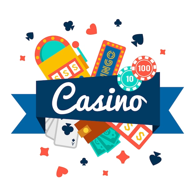 Casinobehang met pokerelementen Gratis Vector
