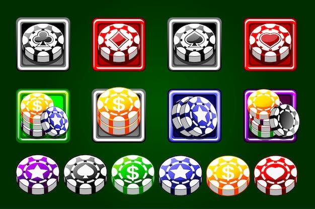 Casinofiches vector geïsoleerd op groene achtergrond. gekleurde chips. casinospel 3d-chips. online casino banner. stel gokconcept, poker mobiele app-pictogram in. Premium Vector