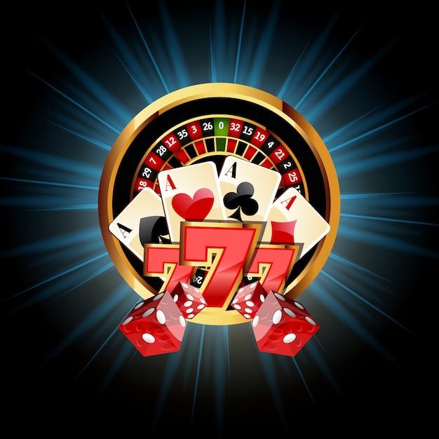 Casinosamenstelling met roulettewiel Premium Vector