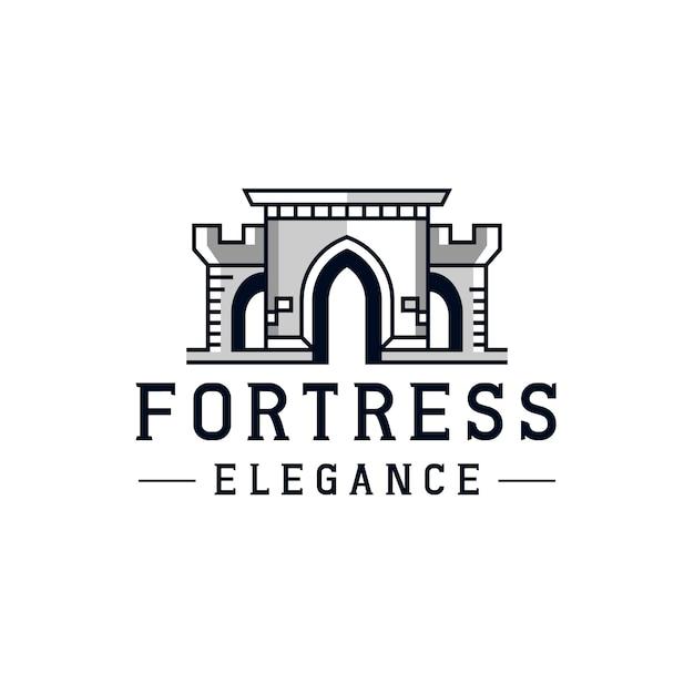 Castle line fortress logo-ontwerp Premium Vector
