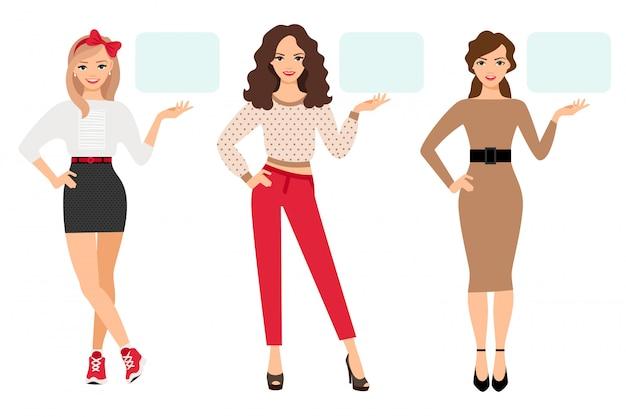 Casual mode vrouw presentatie vectorillustratie. jong meisje verschijnt op lege plaat in verschillende poses Premium Vector
