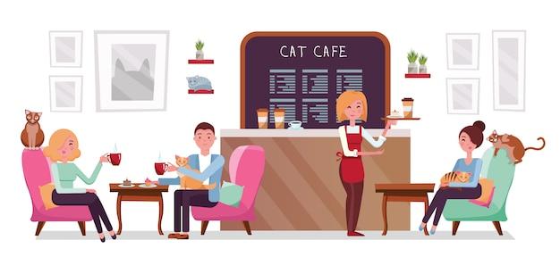 Cat cafe winkel, mensen single en paar ontspannen met poesjes plaats het interieur om te ontmoeten, rust uit met huisdieren, serveersterblad met cake en koffie. Premium Vector