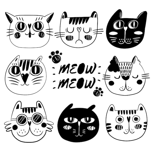 Cat face collectie Gratis Vector