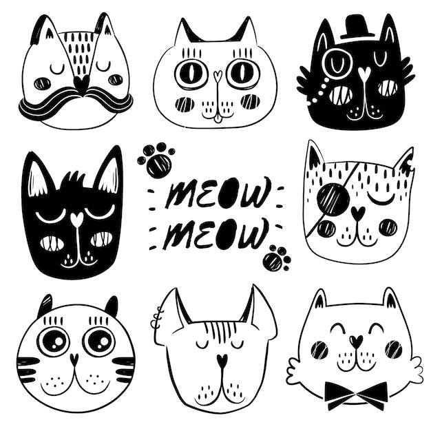Cat gezichtsuitdrukking collectie Gratis Vector