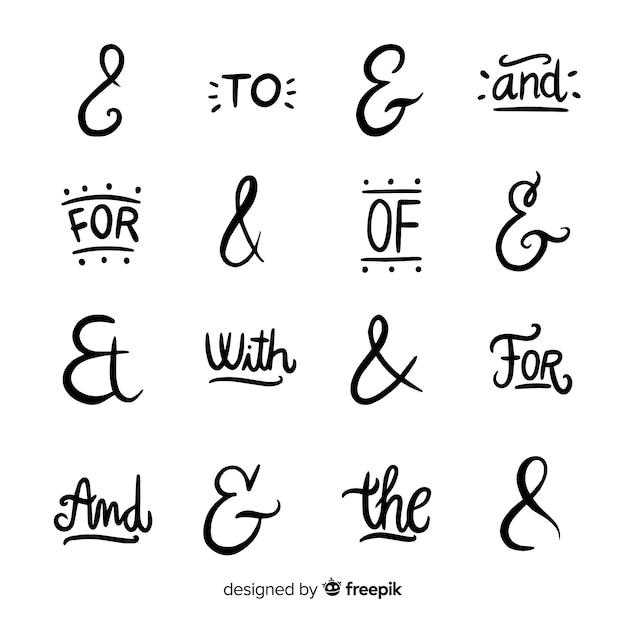 Catchphrases en ampersand-verzameling Gratis Vector