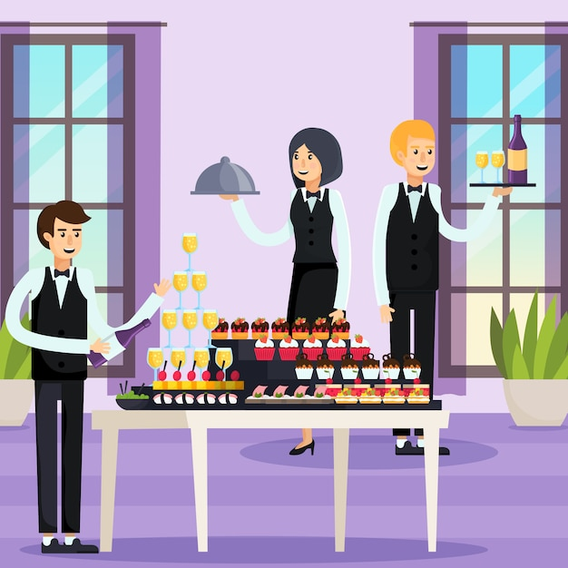 Catering orthogonale samenstelling Gratis Vector