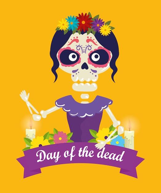 Catrina met schedeldecoratie en bloemen voor dag van de dode gebeurtenis Gratis Vector