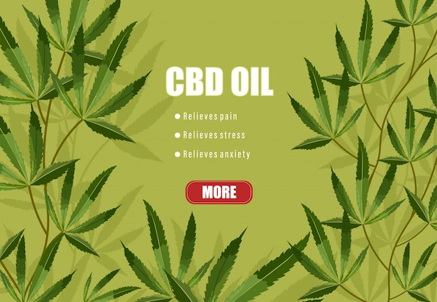Cbd-olie lijst met voordelen op groene achtergrond. verlicht pijn, stress en angst Gratis Vector