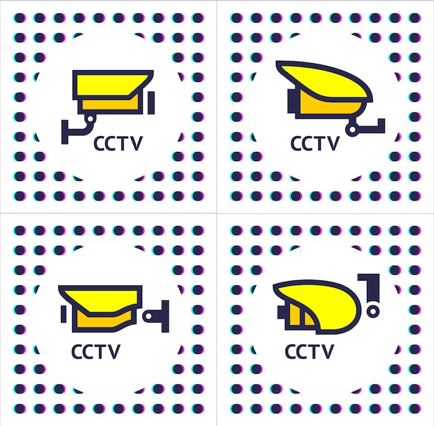 Cctv camera set stickers Premium Vector