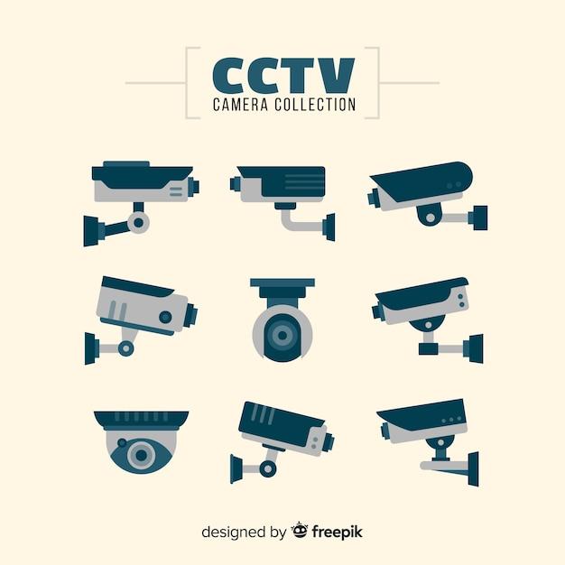 Cctv-camerainzameling met vlak ontwerp Gratis Vector