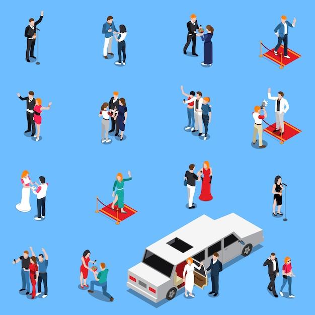 Celebrity isometrische set Gratis Vector